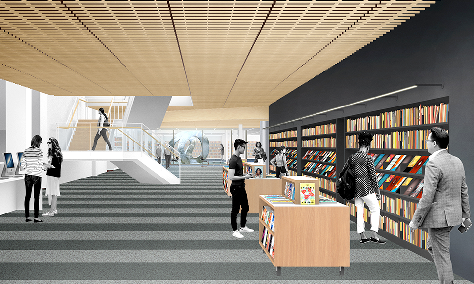 A rendering of the staircase and view from the east entrance.
