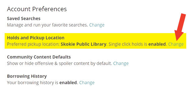 Screenshot of the account preferences panel in the library catalog