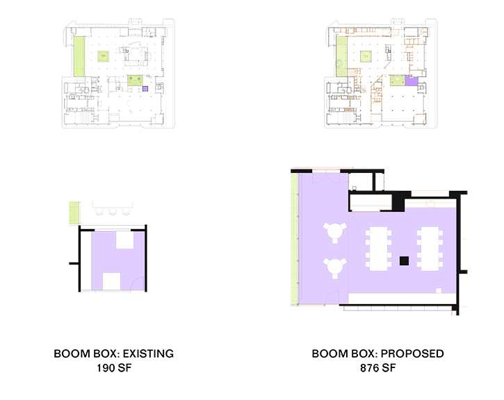 A visual comparison of the existing and planned BOOMbox space.