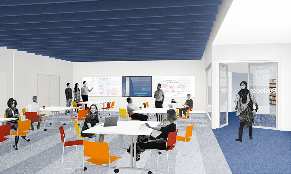 A rendering of the Community Room.