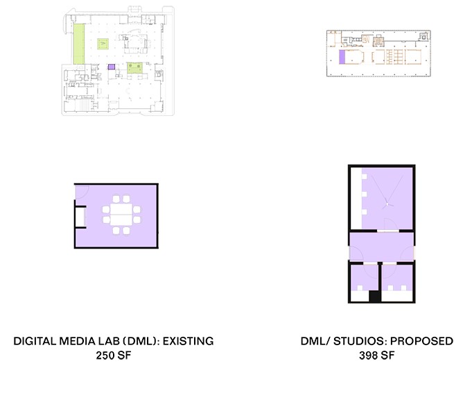 A visual comparison of the existing and planned Digital Media Lab.