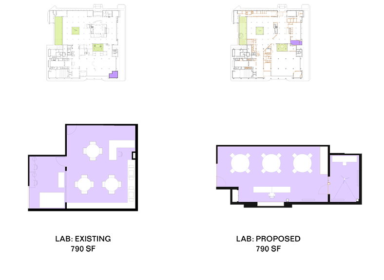 A visual comparison of the existing and planned Youth Lab.