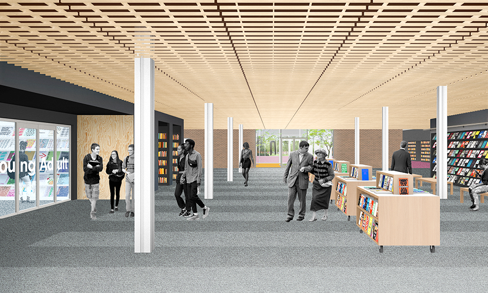 A rendering of the first floor as you walk east from the main entrance.