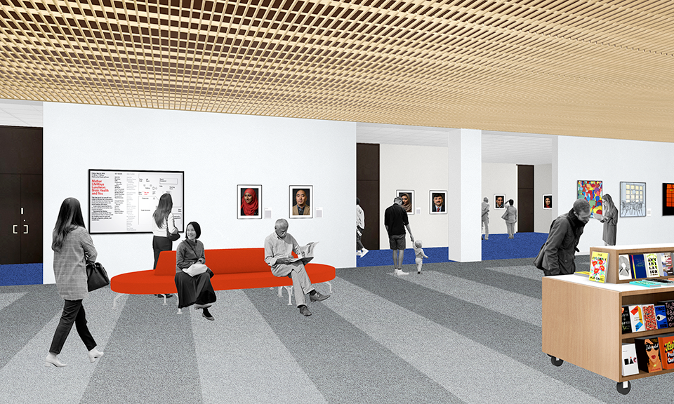 A rendering of the lobby and gallery areas outside the auditorium and program room.