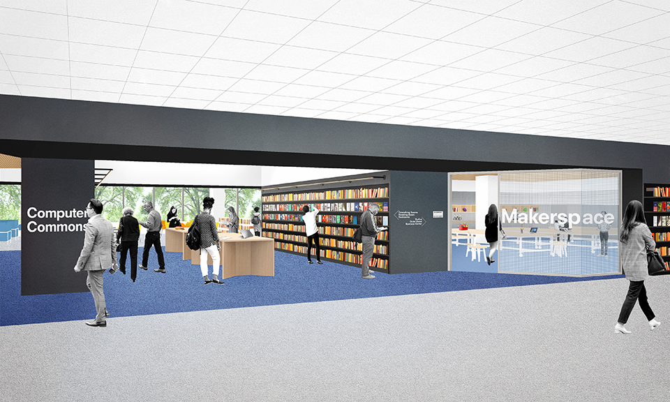 A rendering of the second floor learning and tech space.