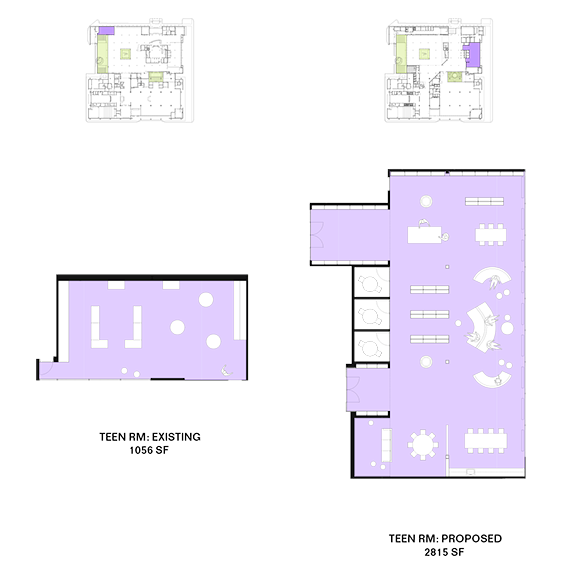 A visual comparison of the existing and planned teen space.