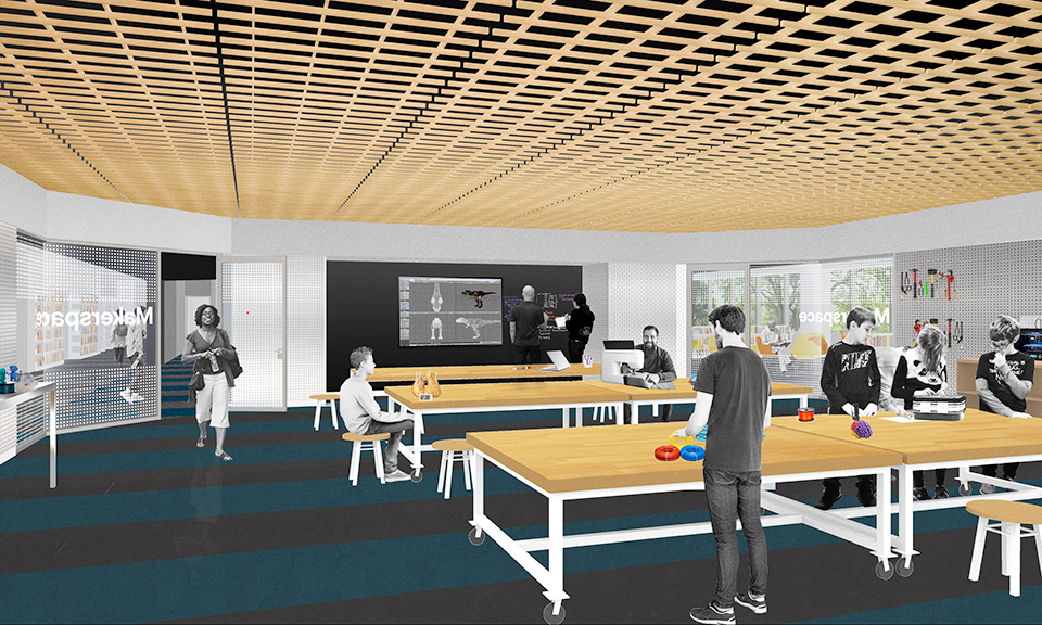 A rendering of the adult makerspace.