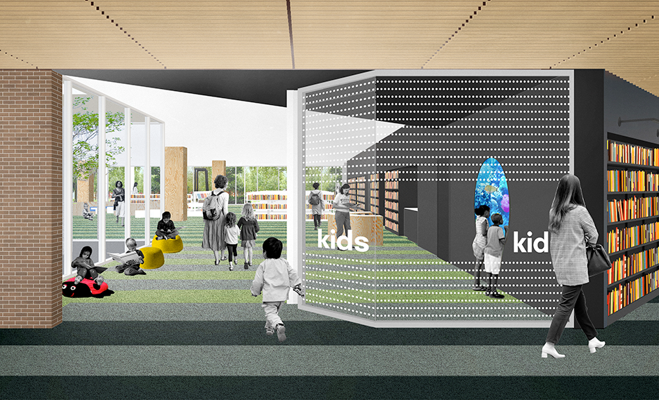 A rendering of the entrance to the Kids area and courtyard.