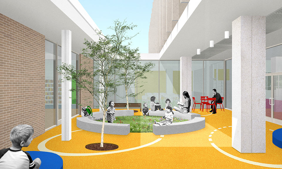 A rendering of the Kids courtyard.