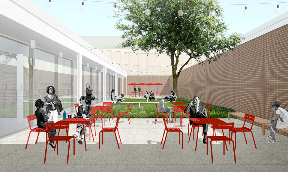 A rendering of the reading patio and café courtyard.