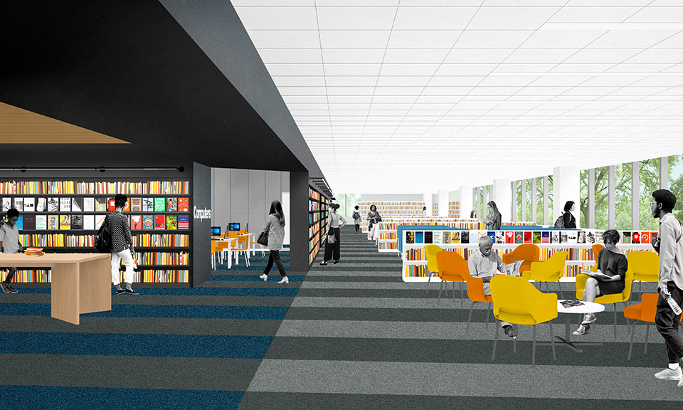 A rendering of the second floor seating areas.
