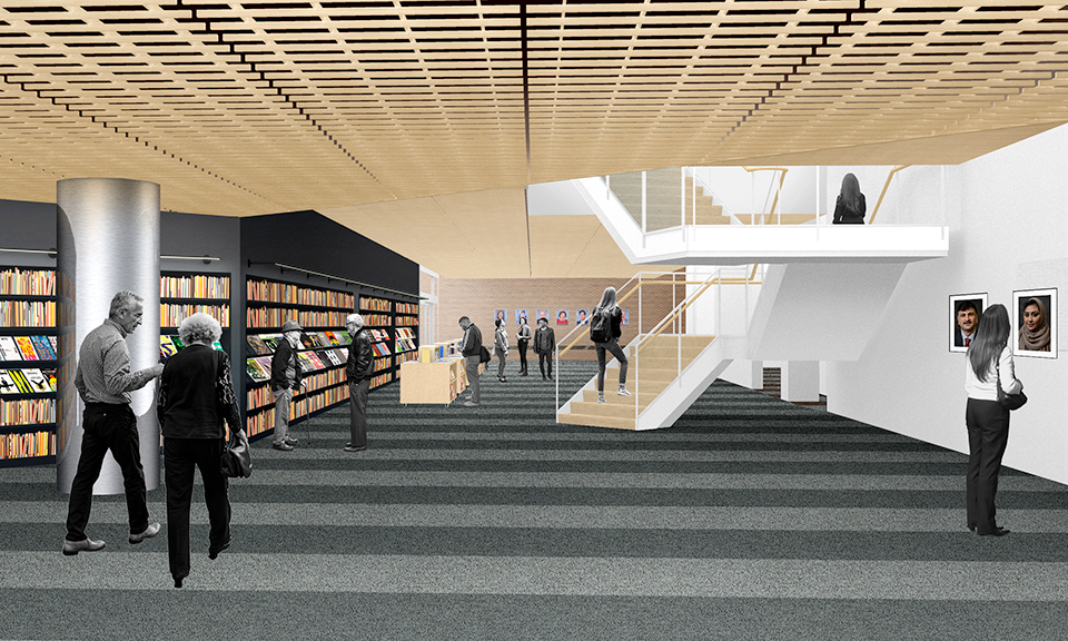 A rendering of the staircase and view from the west passage.